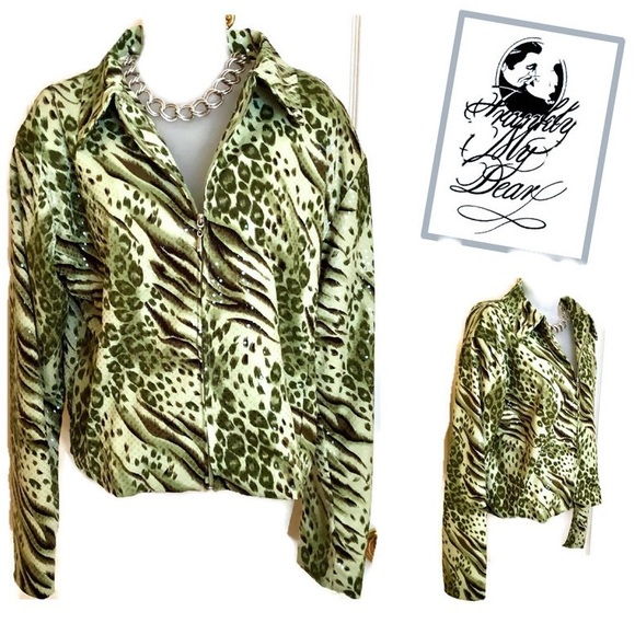 Frankly My Dear Jackets & Blazers - Green Jacket FRANKLY MY DEAR Animal Print Shimmer
